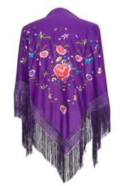 Spaanse manton paars diverse kleuren bloemen en rozen