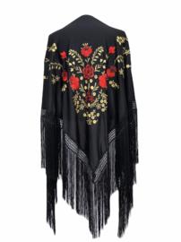 Spaanse manton/omslagdoek zwart goud rode bloemen L