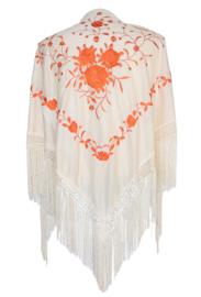 Spaanse manton/omslagdoek creme wit oranje bloemen