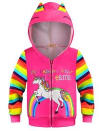 Eenhoorn Unicorn hoodie vest roze + GRATIS ketting