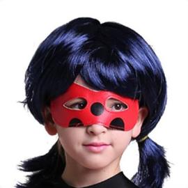 Ladybug pruik Miraculous  blauw/zwart NIEUW