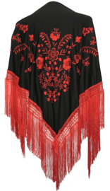 Spaanse manton zwart met rode bloemen rood zwarte franjes