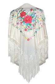 Spaanse manton/omslagdoek, creme wit diverse kleuren bloemen LARGE