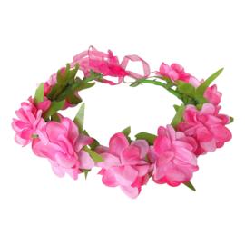 Bloemenkrans haarband roosjes fel roze