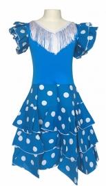 Spaanse flamenco jurk Niño blauw wit