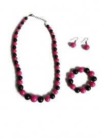Spaanse ketting, oorbellen en armband, roze/zwart
