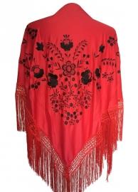 Spaanse manton/omslagdoek, rood/zwart