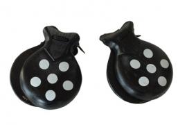 Spaanse castagnettes zwart met witte stippen