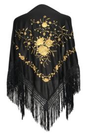 Spaanse manton/omslagdoek zwart met gouden rozen