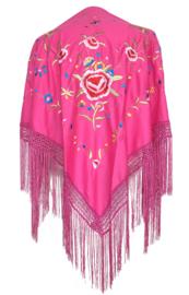 Spaanse manton/omslagdoek fel roze diverse kleuren bloemen