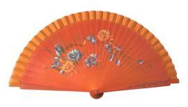 Spaanse flamenco waaier oranje met diverse bloemen (hout)