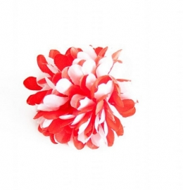 Flamenco hair flower red white