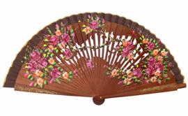 Spaanse waaier bruin bloemen hout open gewerkt, Luxe hout