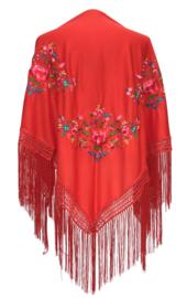 Spaanse manton rood diverse kleuren bloemen driehoek