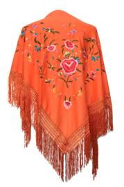 Spaanse manton/omslagdoek oranje diverse kleuren bloemen
