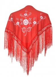 Spaanse manton/omslagdoek rood/wit SMALL