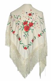 Spaanse manton/omslagdoek creme wit rode rozen