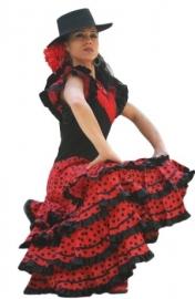 Flamenco jurk / Spaanse jurk dames zwart rood