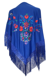 Spaanse manton/omslagdoek koningsblauw diverse bloemen