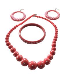 Spaanse ketting, oorbellen & armband set rood wit