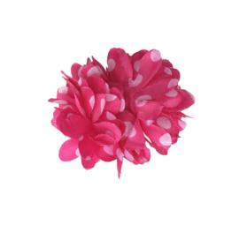 Haarbloem fel roze witte stippen klein model