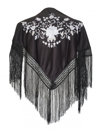 Spaanse manton/omslagdoek zwart/wit SMALL