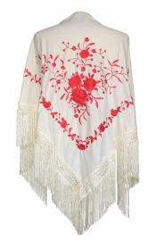 Spaanse manton/omslagdoek creme wit met rode bloemen