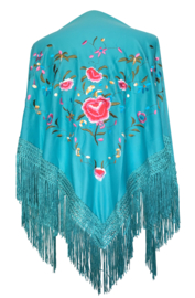Spaanse manton aqua blauw diverse kleuren bloemen