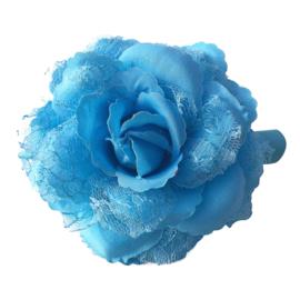 Spaanse (haar) roos, blauw met kant