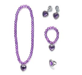 Prinsessen set paars - ketting, armband, oorbellen + ring