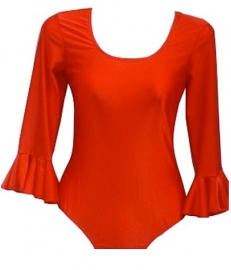 Flamenco body dames, rood - met 3/4 mouw