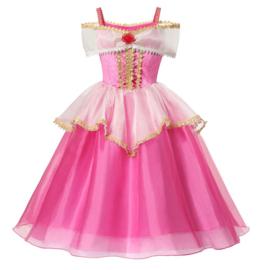 Prinsessenkleedje fel roze goud Deluxe + kroon en toverstaf