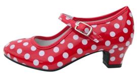 Spaanse schoenen rood wit glossy