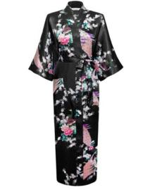 Chinese Kimono zwart met opdruk dames