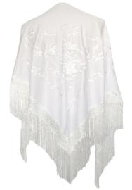 Spaanse manton/omslagdoek wit met witte bloemen LARGE