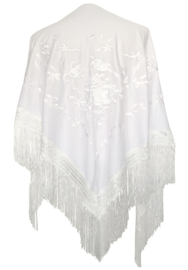 Spaanse manton/omslagdoek, wit met witte bloemen
