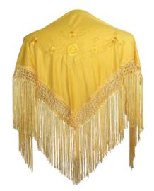 Spaanse manton/omslagdoek geel met gele bloemen SMALL