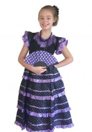 Spaanse jurk zwart paars