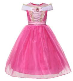 Prinsessenjurk fel roze Luxe met broche + GRATIS kroon