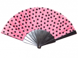 Flamenco Fan pink black dots