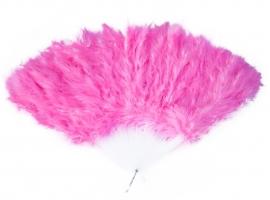 Spaanse waaier met veren, fel roze