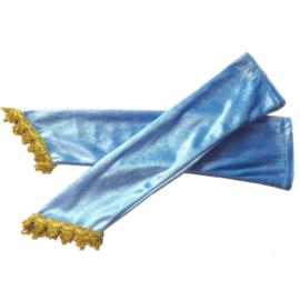 Prinsessen handschoenen blauw fluweel vingerloos