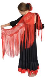 Spaanse Mantoncillo de Crochet rood