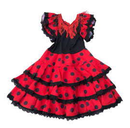 Spaanse flamenco jurk Niño rood zwart