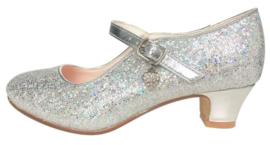 Spaanse schoenen zilver Glamour glitterhartje
