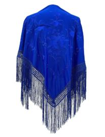 Spaanse manton konings blauw met blauwe bloemen