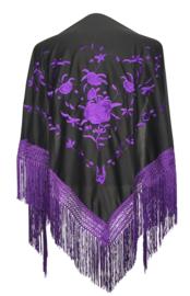 Spaanse manton omslagdoek zwart paarse rozen