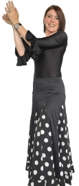Flamenco skirt ladies black white dots