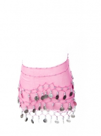 Spaanse dansdoek met muntjes roze