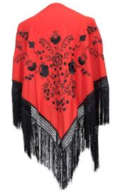 Spaanse manton/omslagdoek, rood/zwart met zwarte franjes